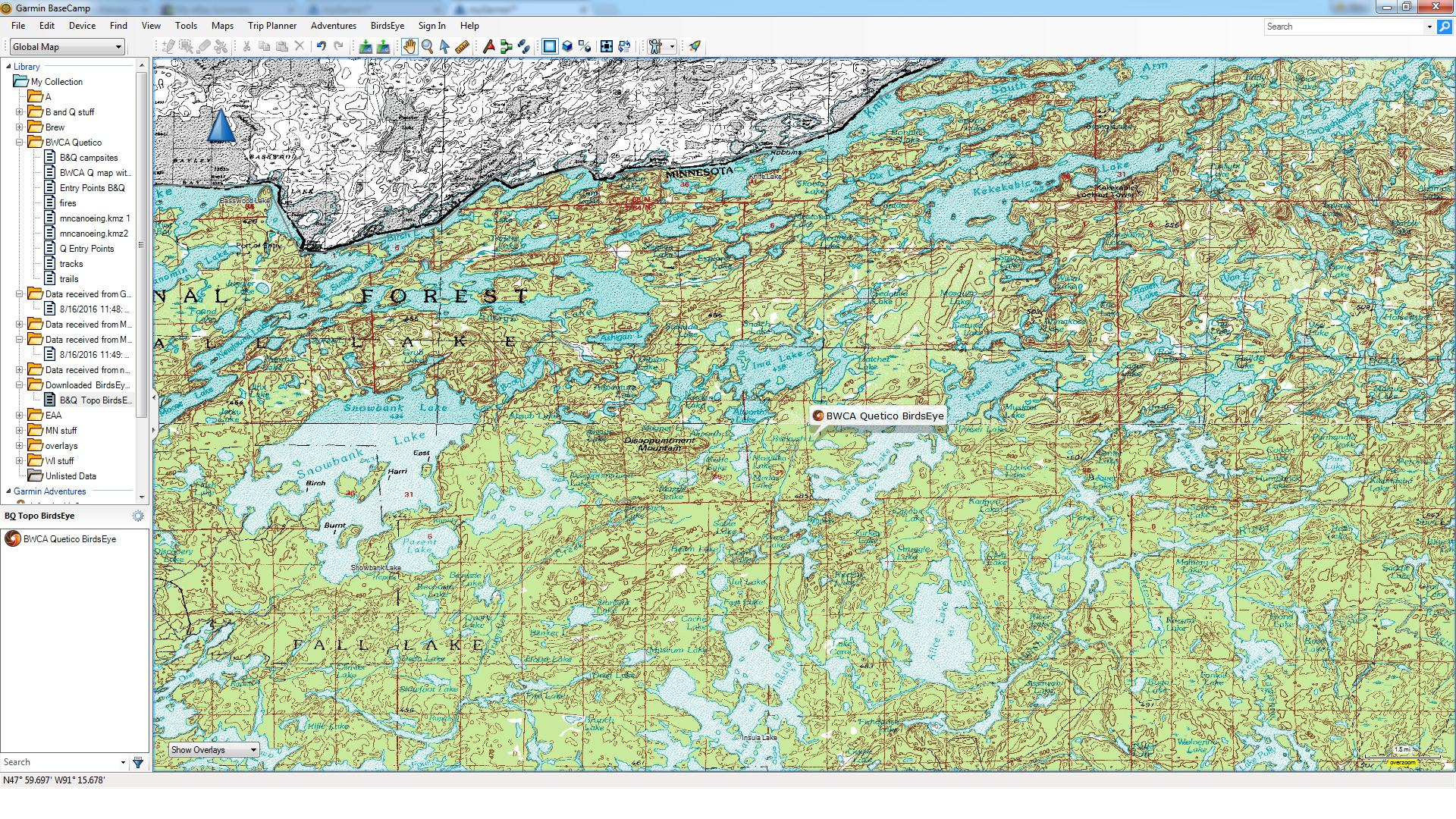 bwca birdseye topo maps boundary waters private group