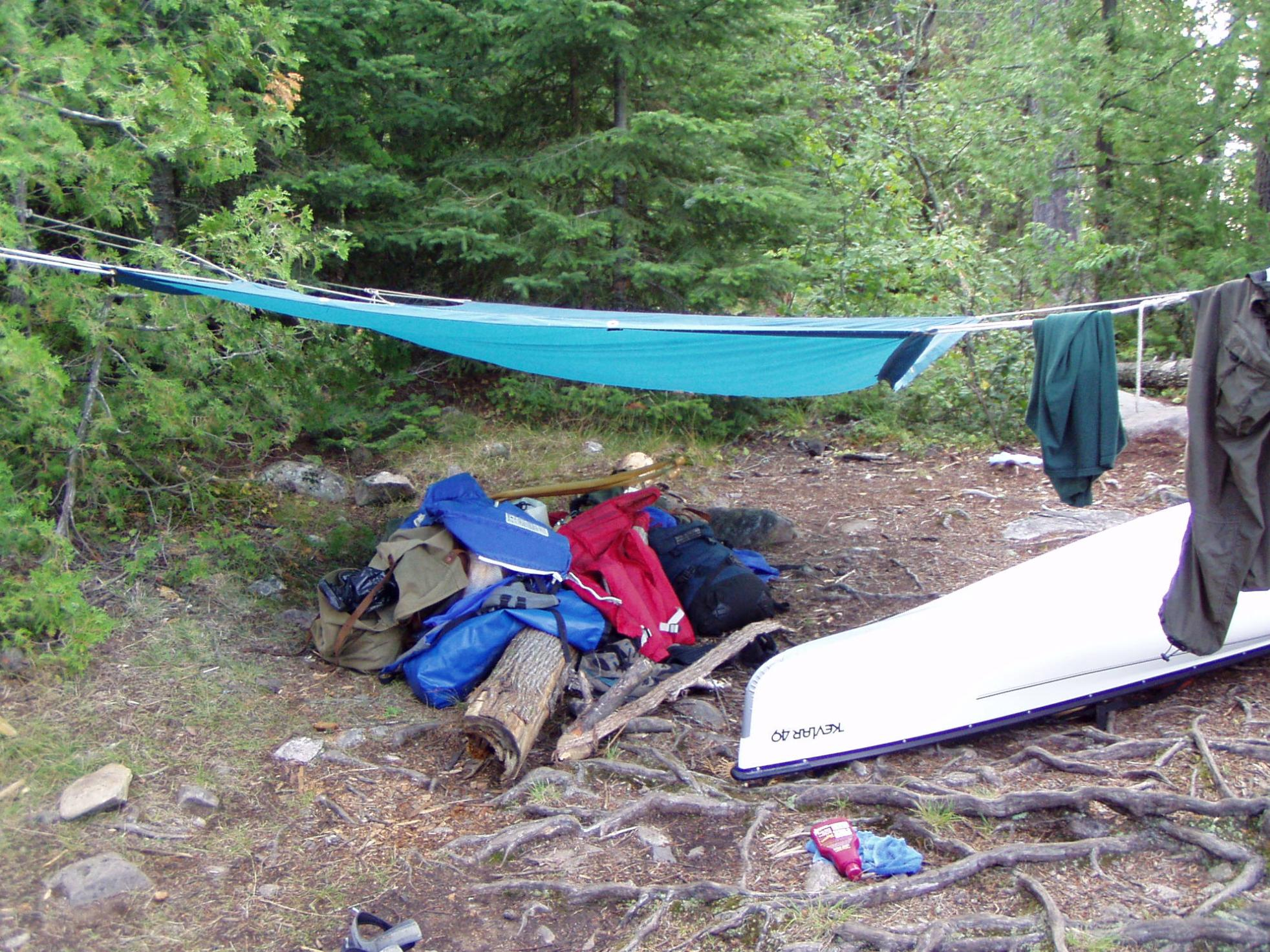 Old Tarp at BWCAW campsite