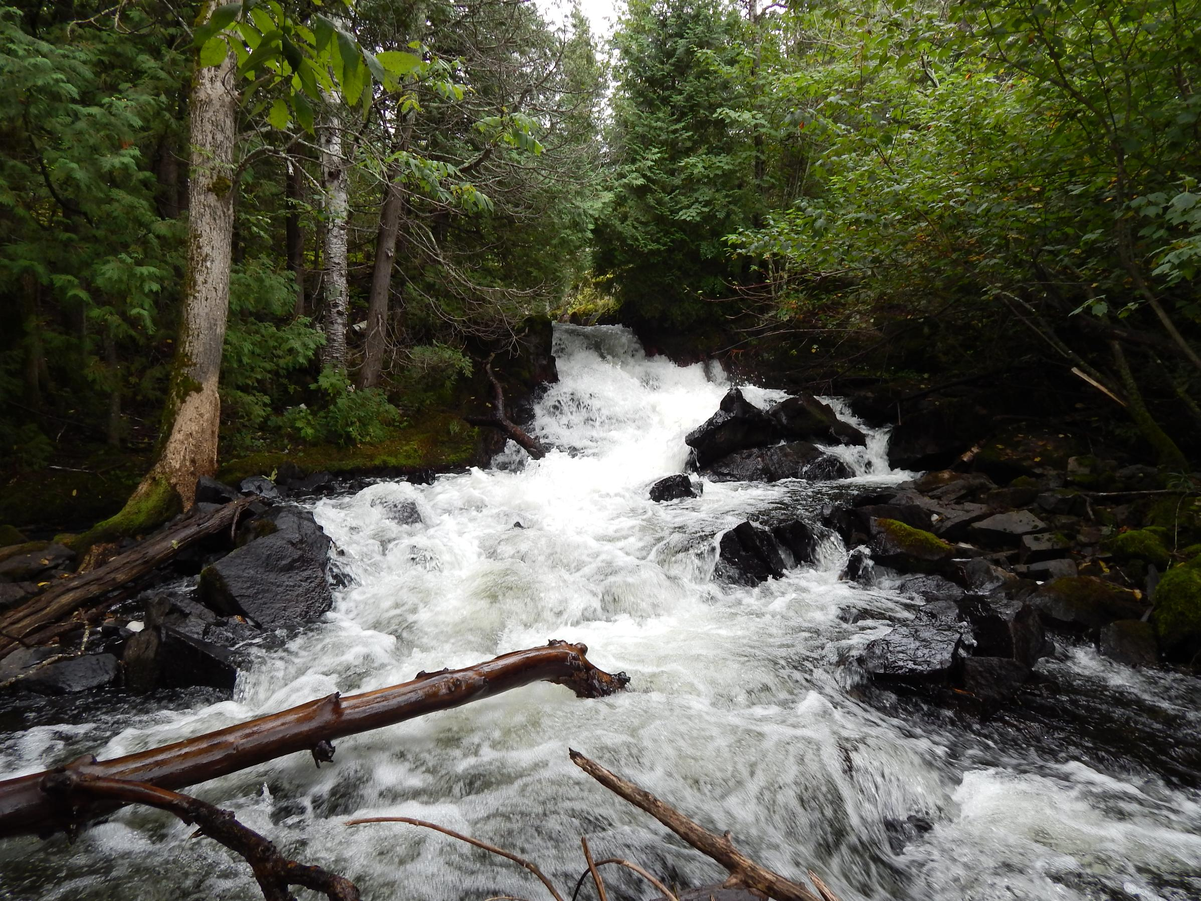 Thirty-four foot waterfall from Conk Lake to Quetico Lake