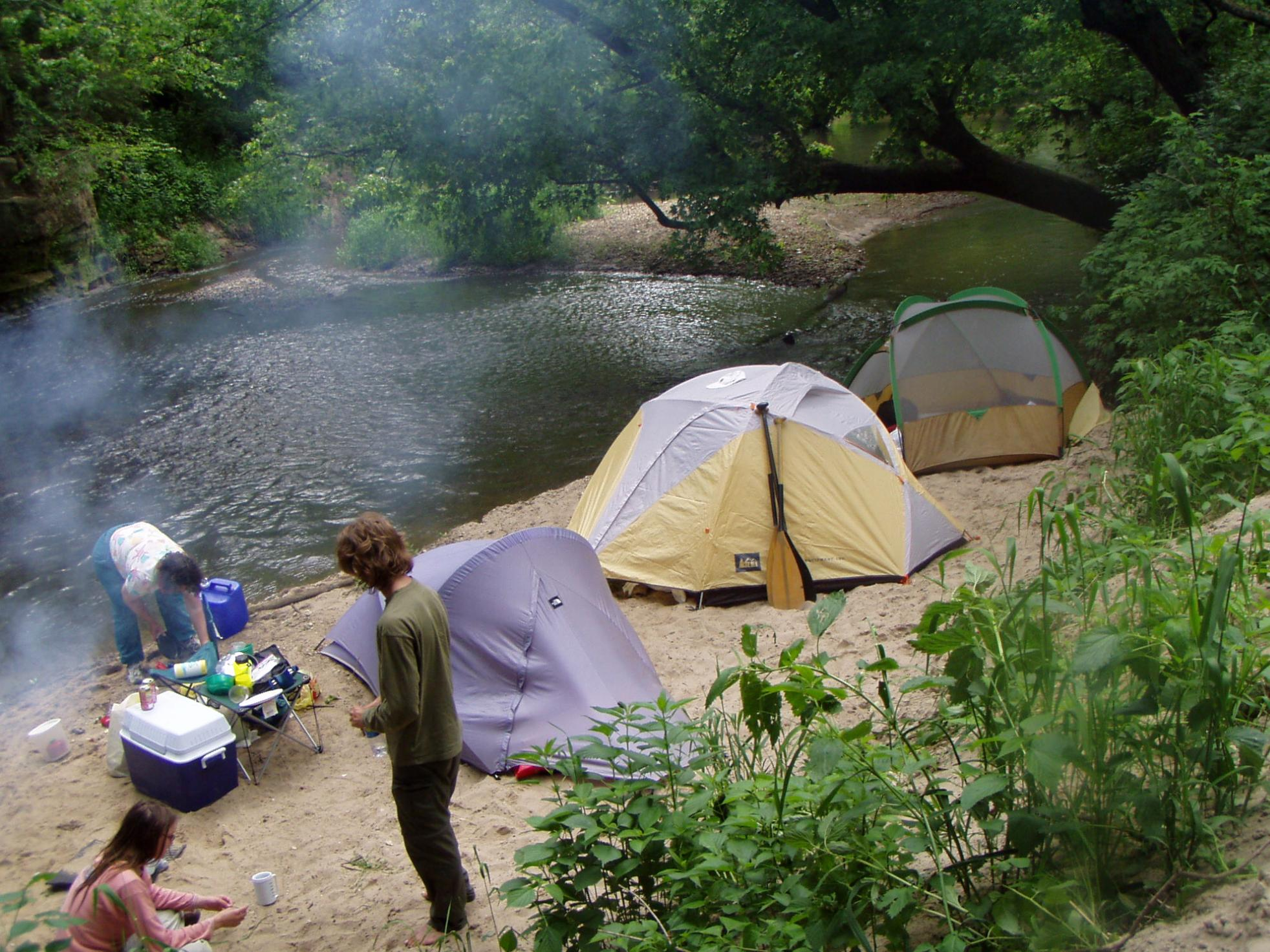 Three-fer of tents on the Kickapoo River