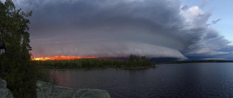 Storm rolling in at sunset