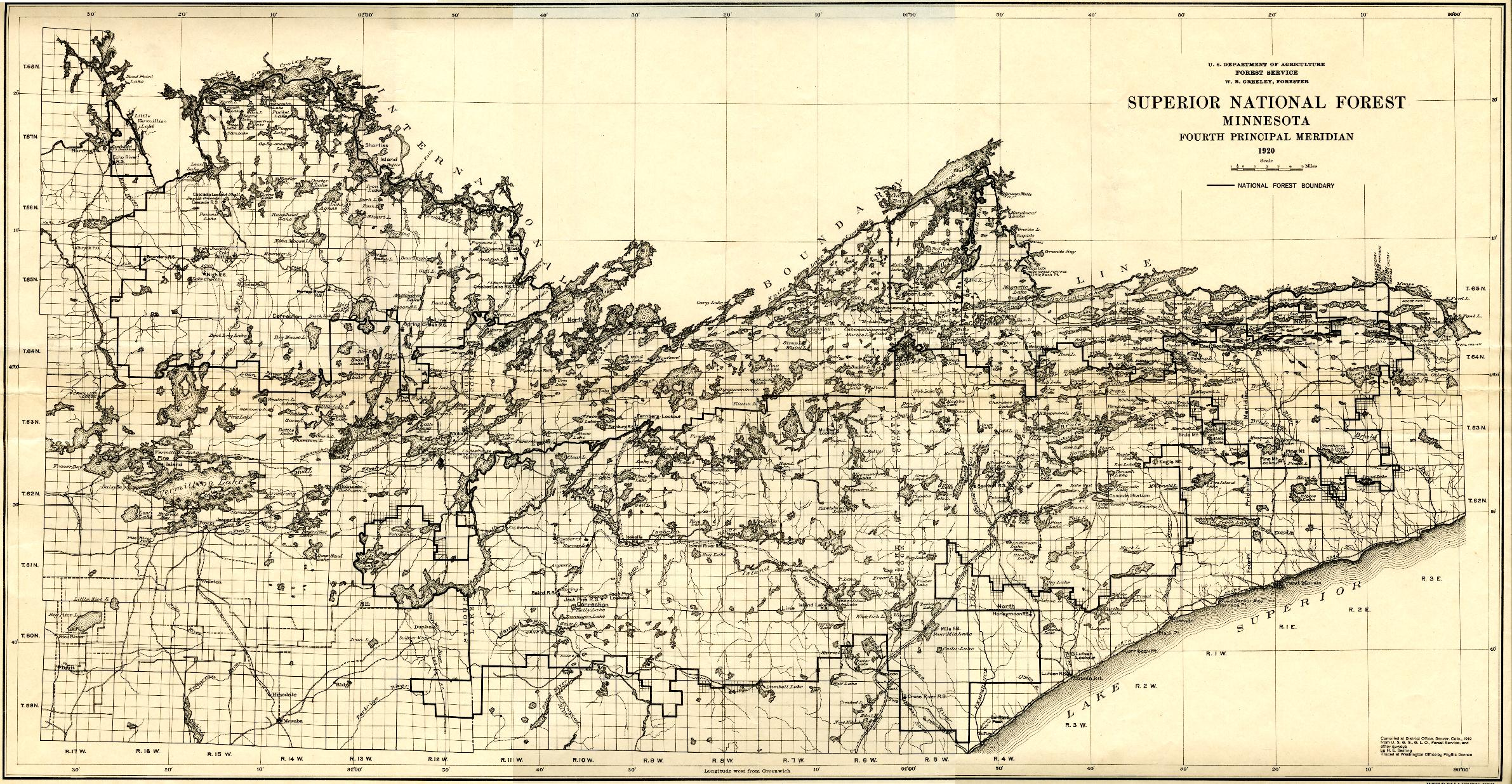 BWCA Old Map Of Cook County Boundary Waters Listening Point ...