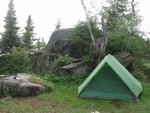 Our tent on Rice Lake camp site. Great fishing in those weed beds, for those of  you traveling in this area.