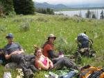 Lunch in a field of wildflowers on Yellowstone Lake.