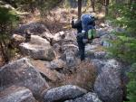 Trail degrades into boulder field along South Wilder Lake.