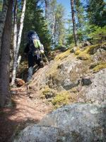 Heidi navigates the rugged trail west of North Wilder Lake.