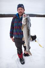 Dave with the first lake trout.