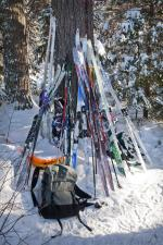Skis piled up at the Midwest Mountaineering campsite.
