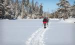 Back on the skis and heading for the portage into Little Shell Lake.