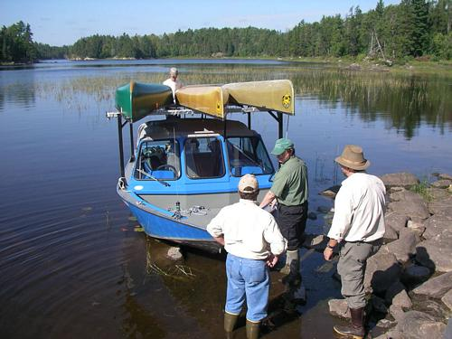 Zup's jetboat at Black Robe Portage