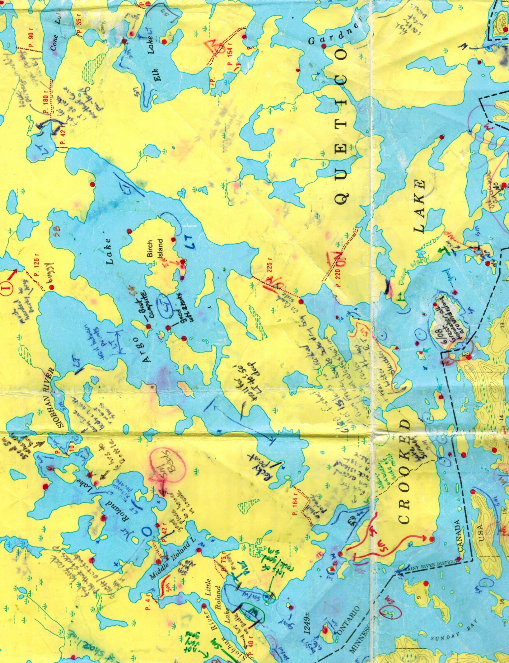 BWCA Argo lake camp sites and info Boundary Waters Quetico Forum Quetico Provincial Park Map on