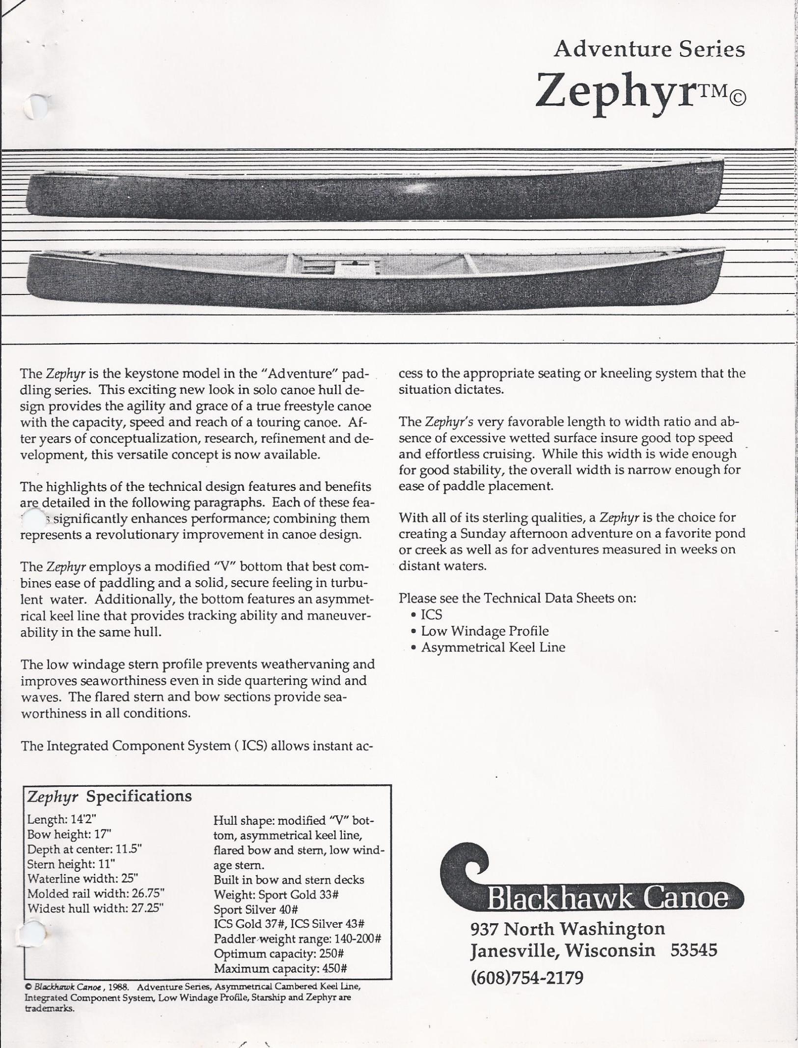 Blackhawk Zephyr Spec Sheet