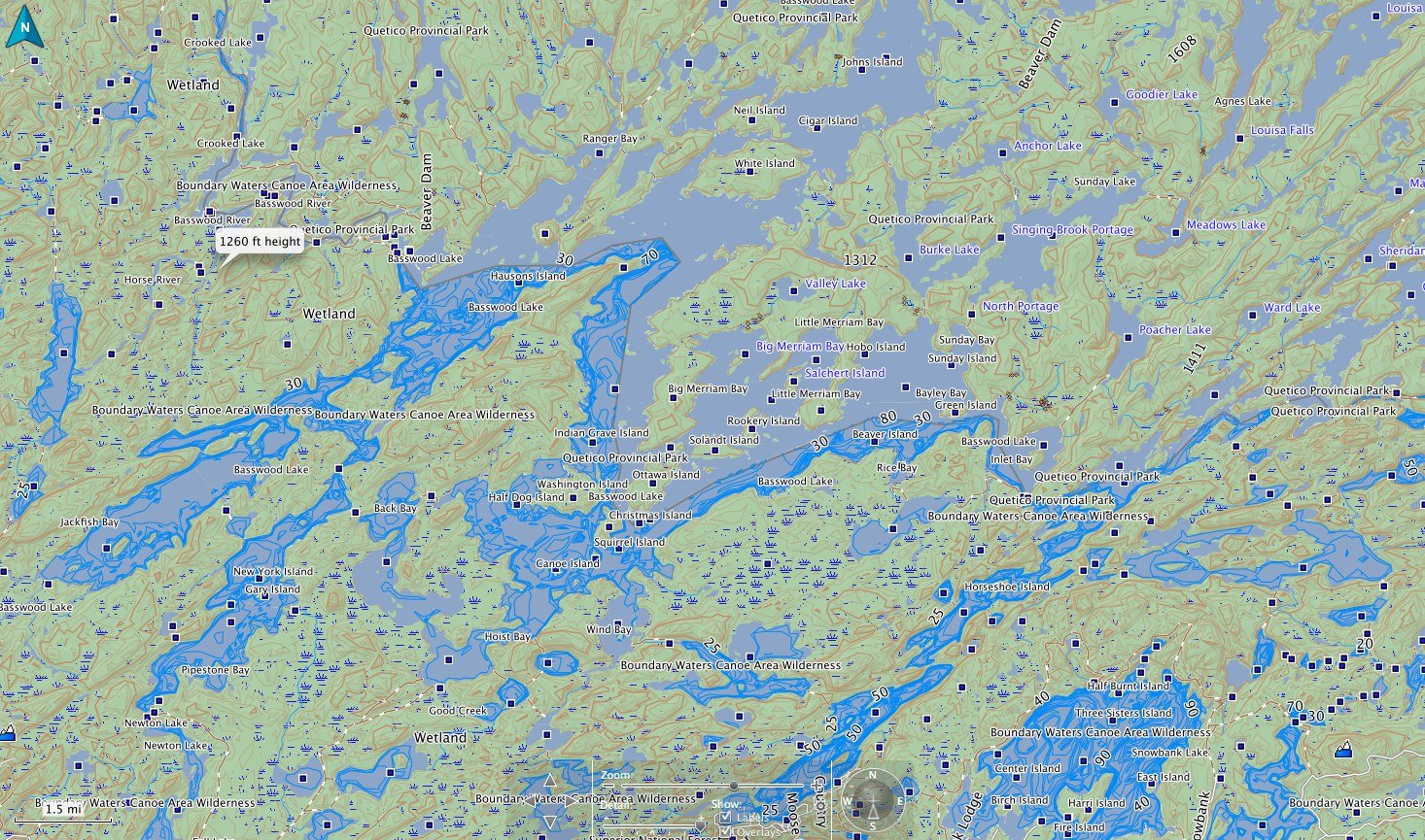 BWCA Garmin inland lakes boundary waters map Boundary Waters Quetico on