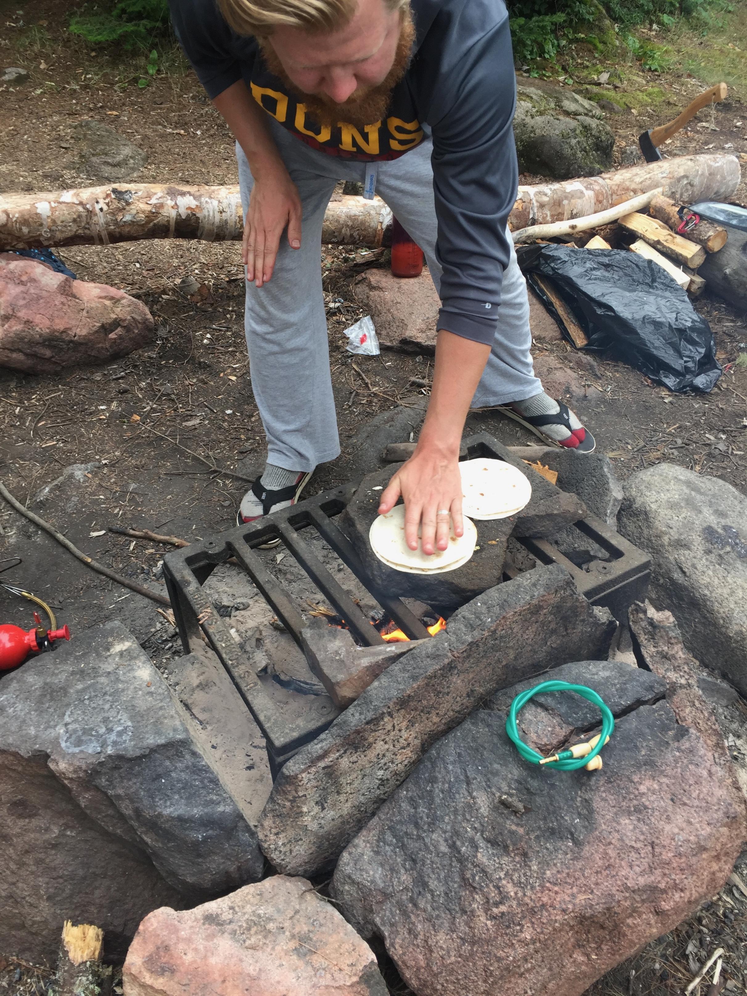 Quesadillas on a rock.