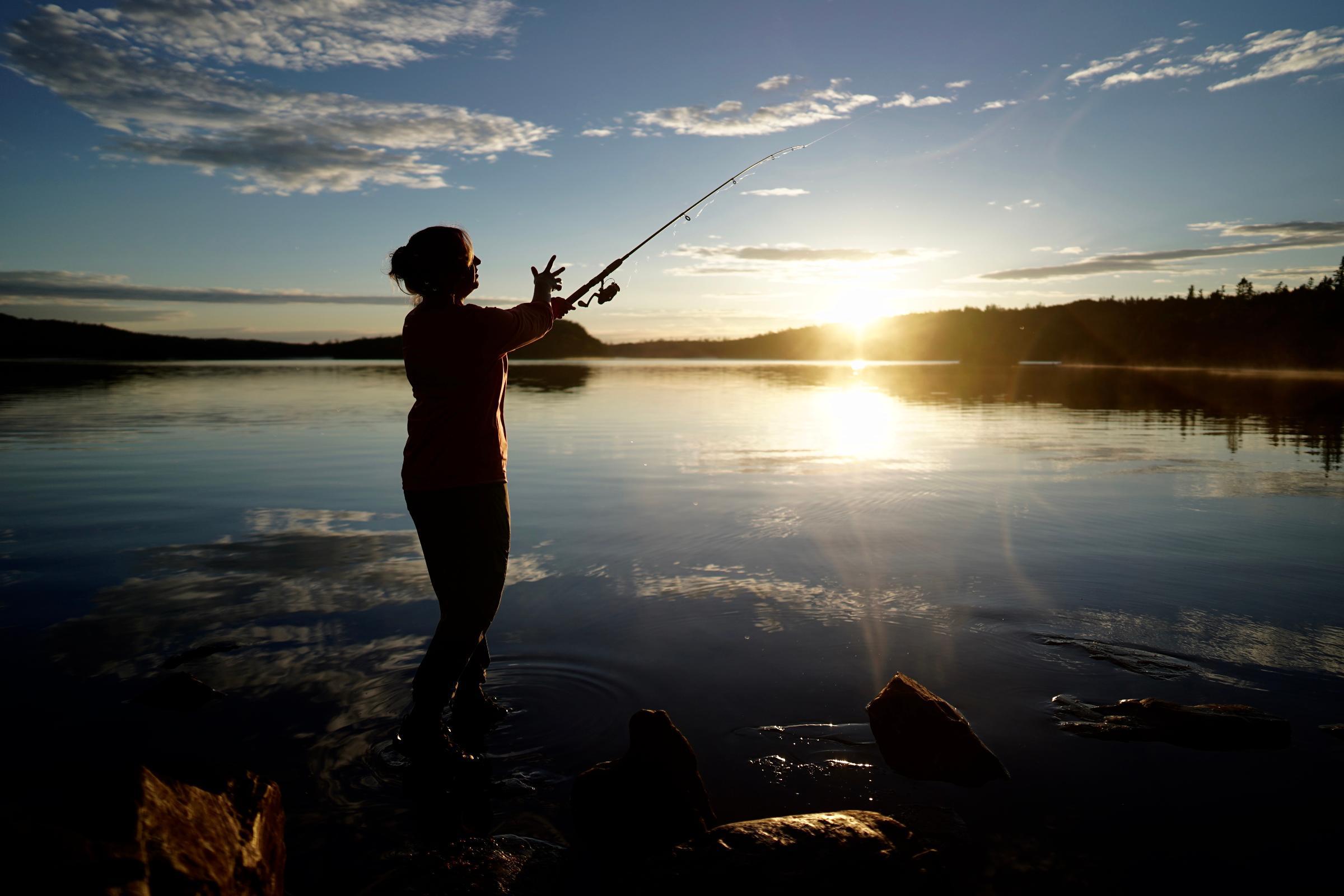 Fishing Alder Lake at sunset