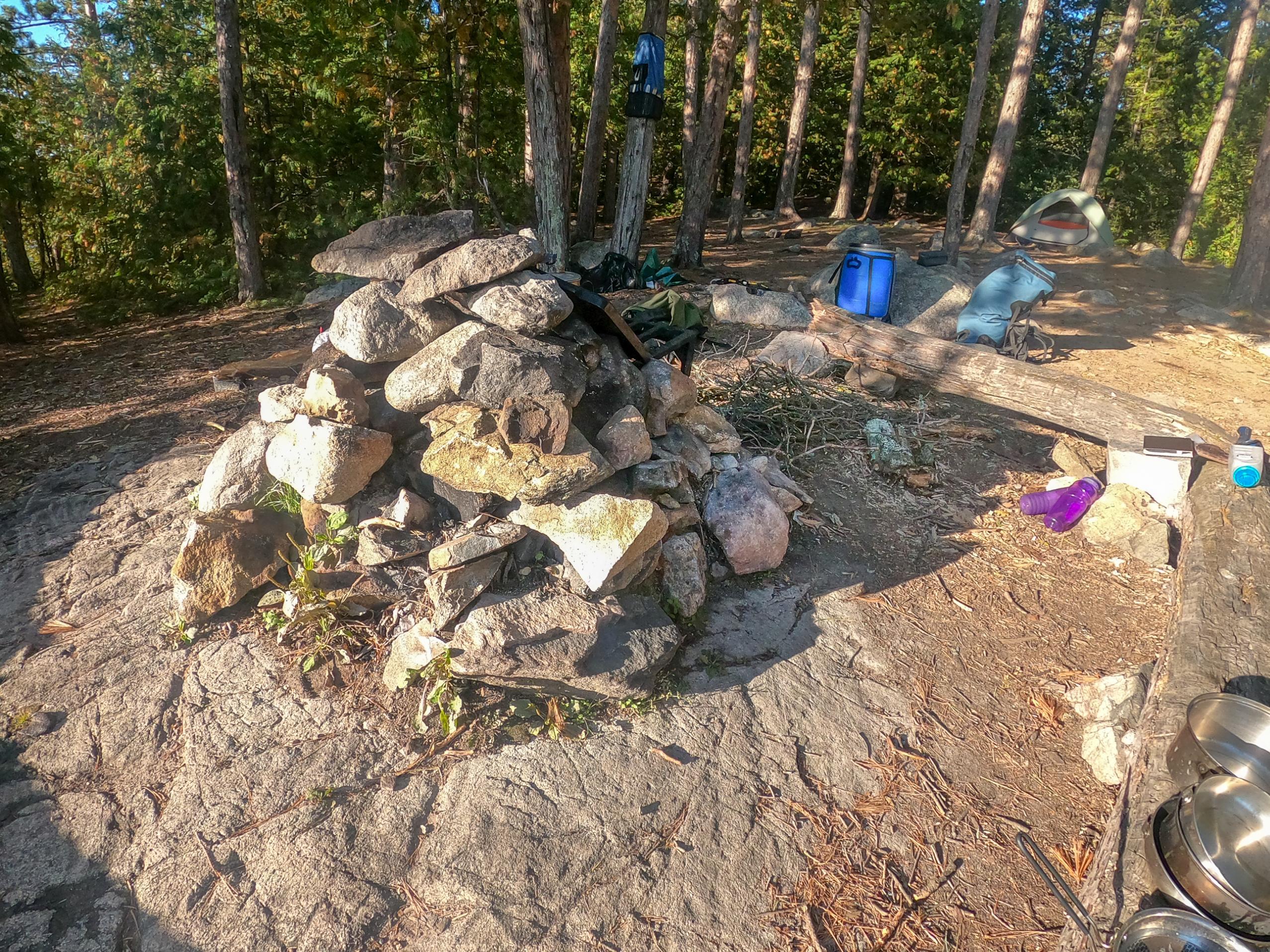 Rocks built up around fire grate