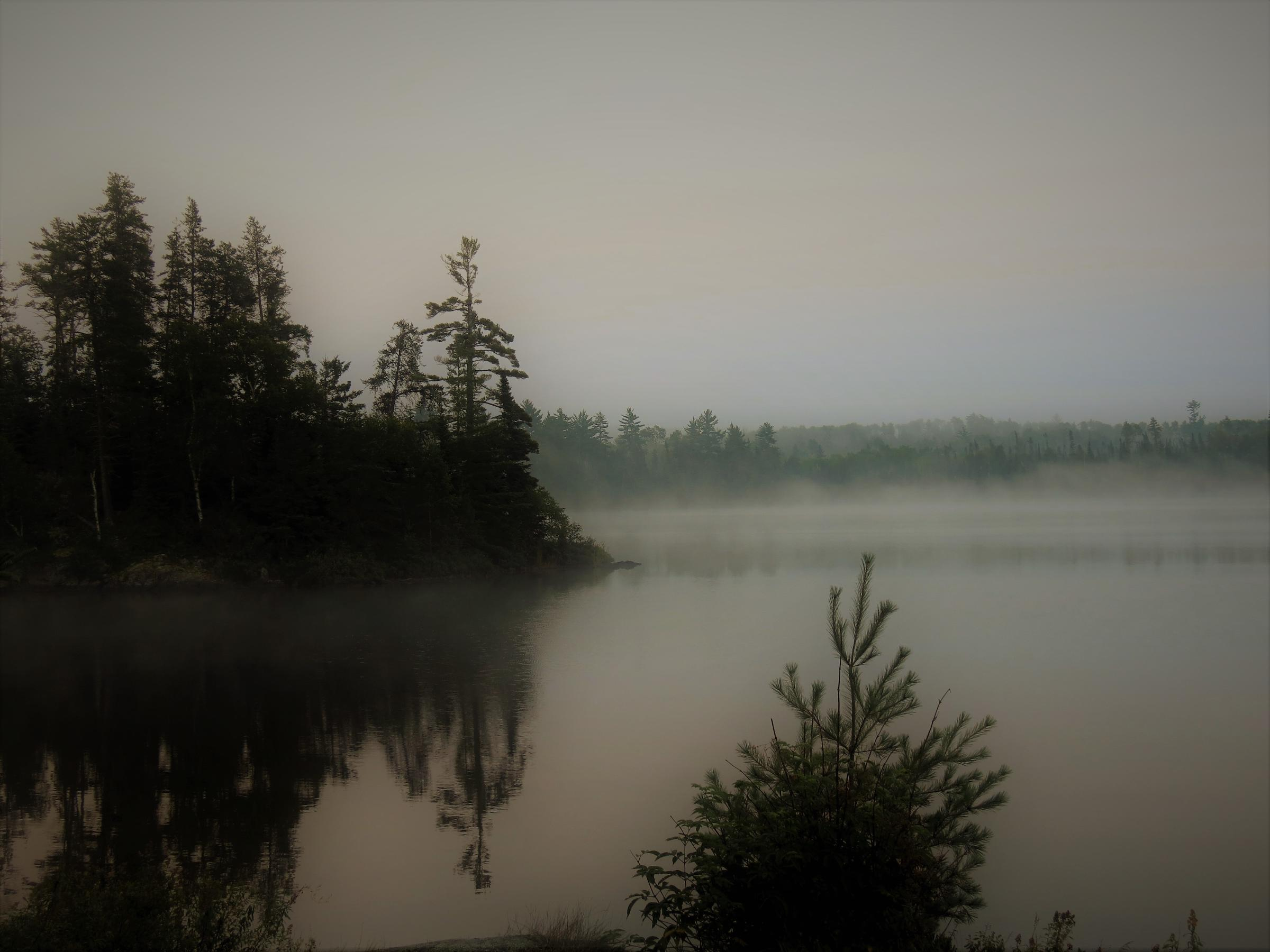 A. Foggy morning on Lake Disappointment