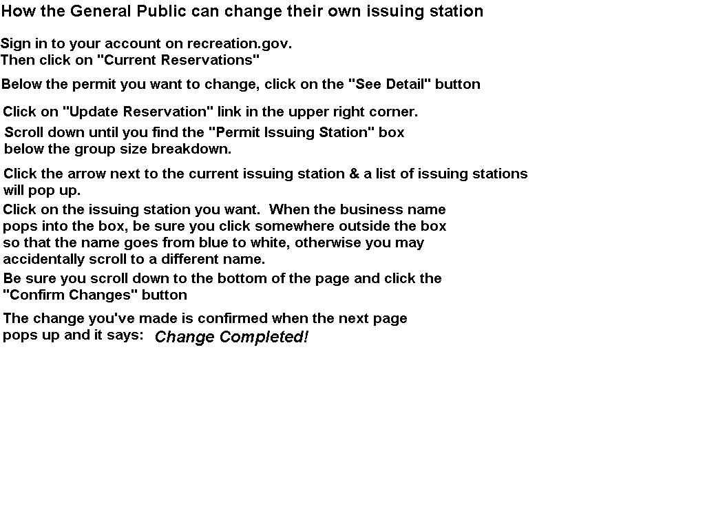 Changing issuing Station